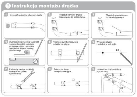 Instrukcja montażu drążka do zasłony prysznicowej